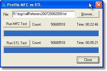 Time comparison of reading a 2GB file with MFC and STL