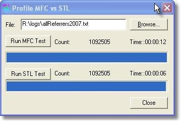 Time comparison of reading a 34MB file with MFC and STL