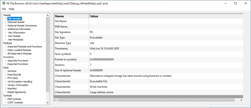 PE File Browser, PDB contents browser